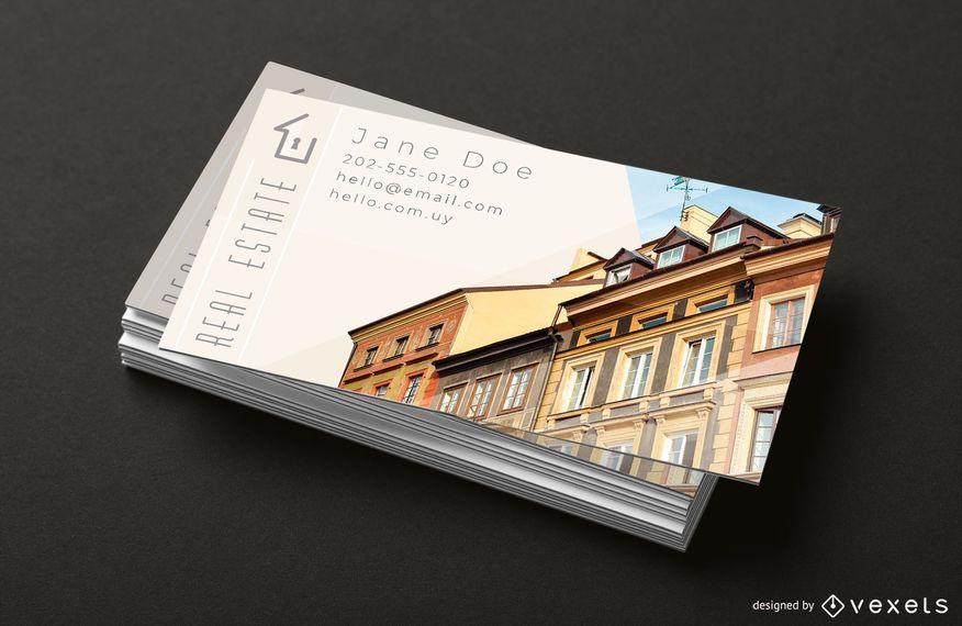 Modelo de pilha de cartão de negócios imobiliários