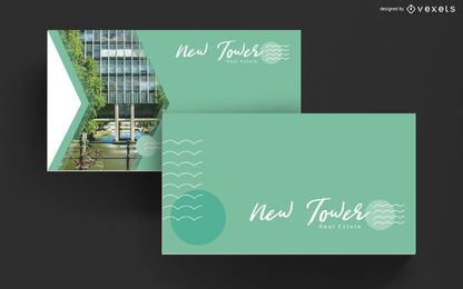 Design de modelo de cartão de negócios imobiliários