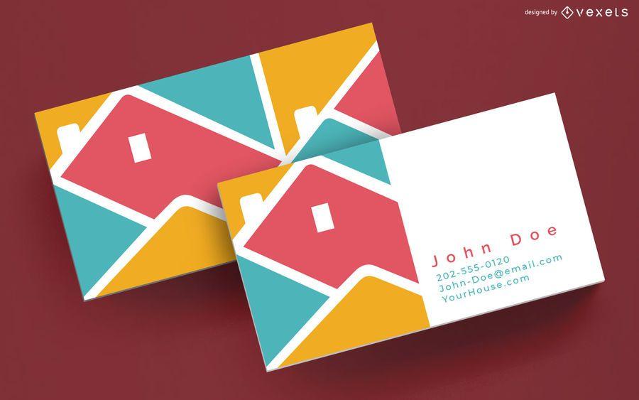 Plantilla de tarjeta de visita colorida casa