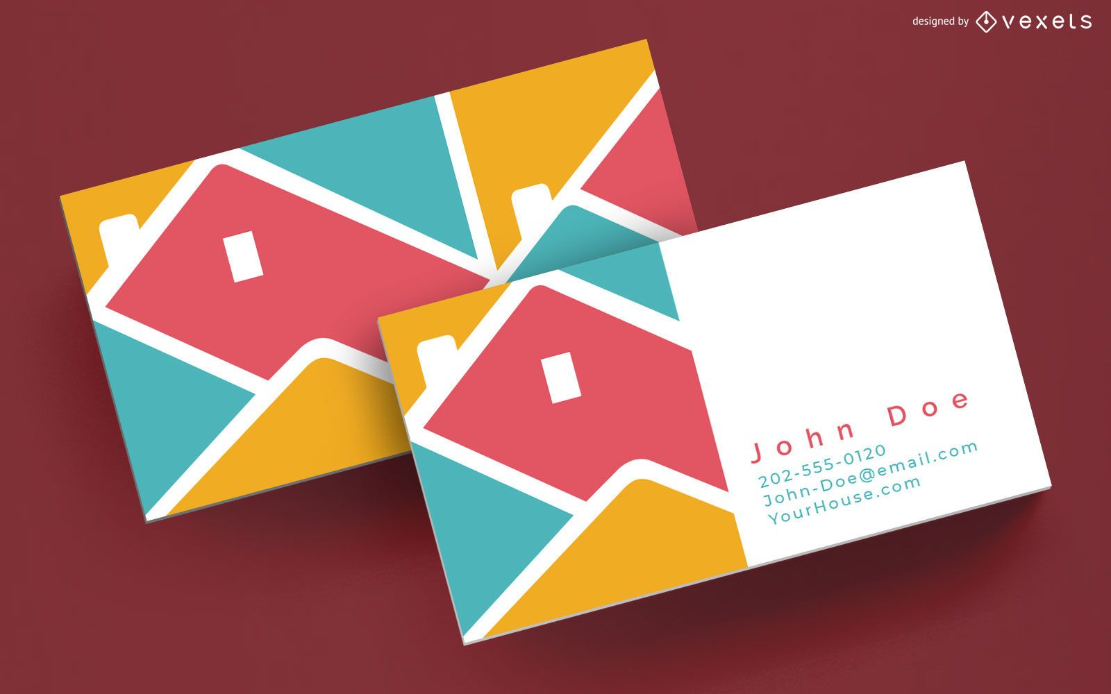 Colorful house business card template