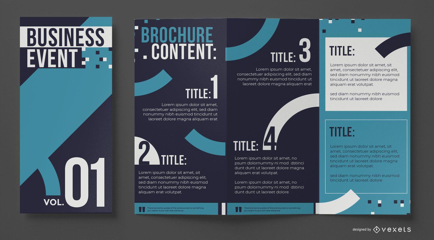 Plantilla de folleto empresarial azul