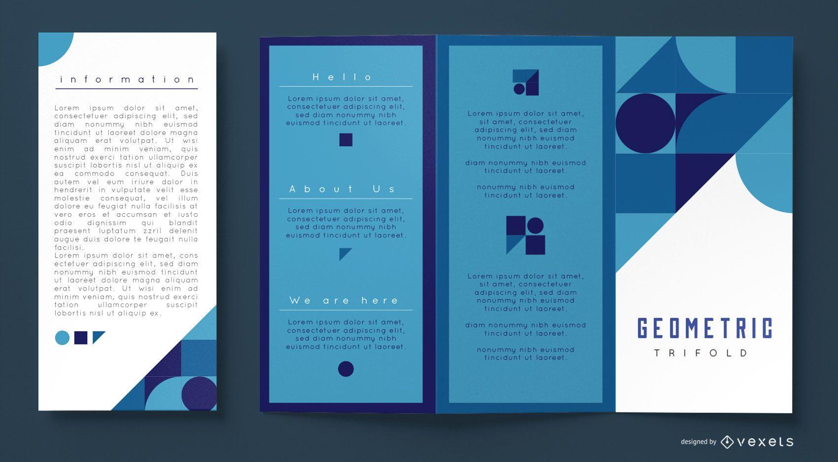 Plantilla de folleto comercial geométrico azul
