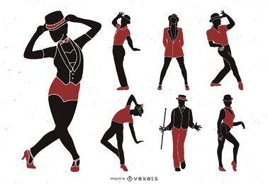 Conjunto de silhueta de dançarinos de jazz