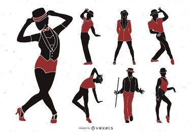 Jazz dancers silhouette set