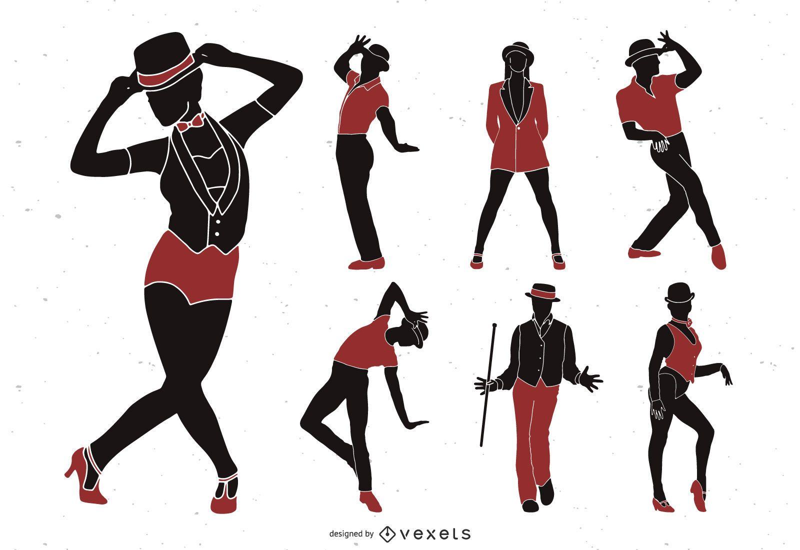 Conjunto de silueta de bailarines de jazz