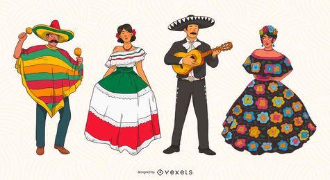 Conjunto de ilustración de personajes mexicanos