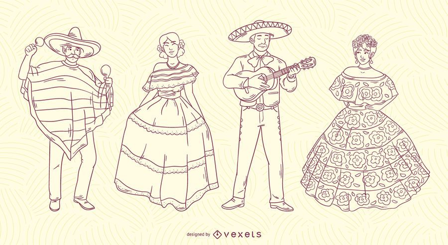 Mexican characters stroke set