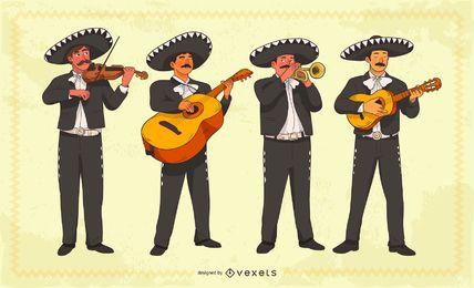 Conjunto de caracteres mariachis mexicanos