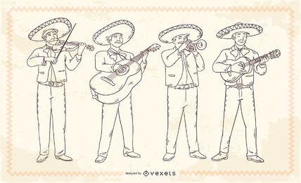 Personagens de traçado mariachis mexicana