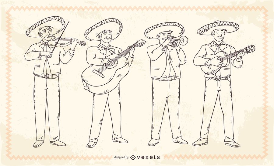 Mexican mariachis stroke characters