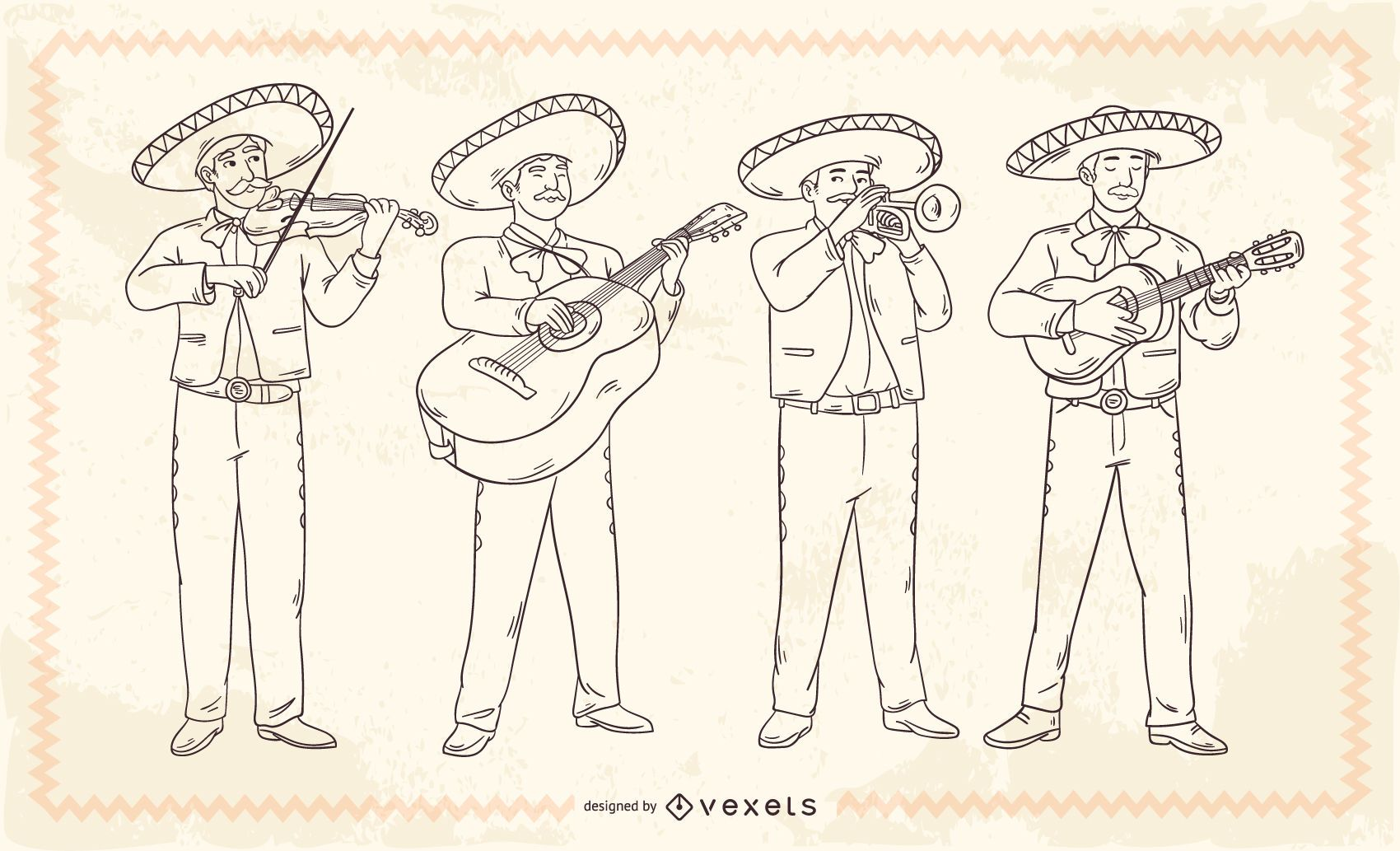 Personajes de trazo de mariachis mexicanos
