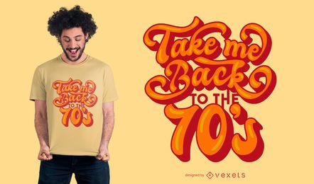 Design de camiseta com letras retrô dos anos 70