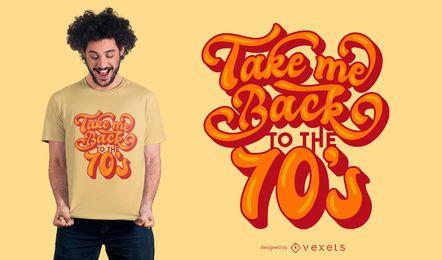 Diseño de camiseta con letras retro de los 70