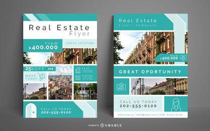 Conjunto de panfleto de negócios imobiliários