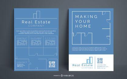 Conjunto de panfleto de empresa imobiliária