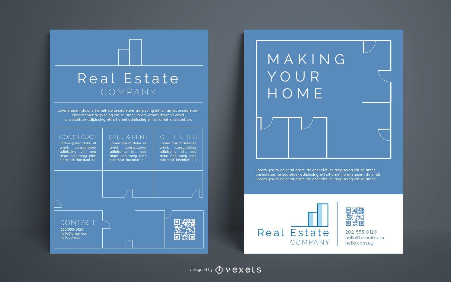 Conjunto de folletos de empresa inmobiliaria