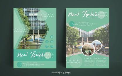 Conjunto de folletos de construcción inmobiliaria