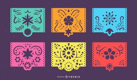 Conjunto de banner colorido de Papel Picado mexicano