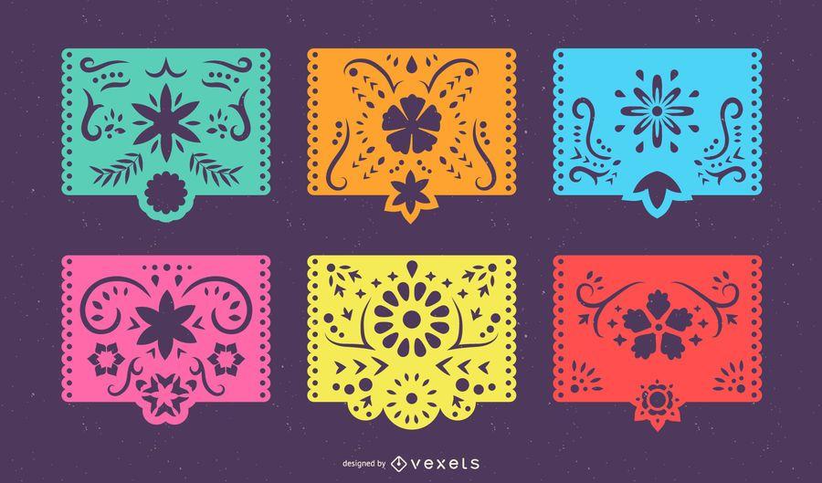 Conjunto de pancartas coloridas de Papel Picado mexicano
