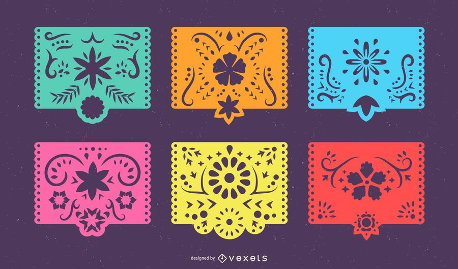 Mexican Papel Picado Colorful Banner Set