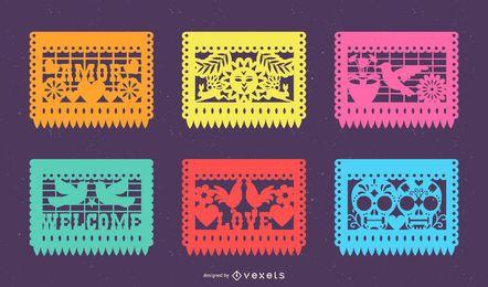 Paquete de pancartas de Papel Picado mexicano