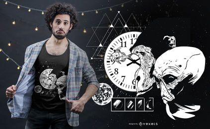 Design de camiseta de macaco espacial abstrato