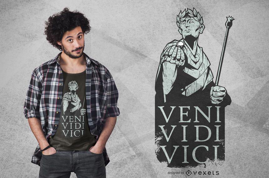 Diseño de camiseta de veni vidi vici