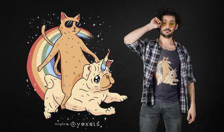 Katze, die unidog T-Shirt Entwurf reitet