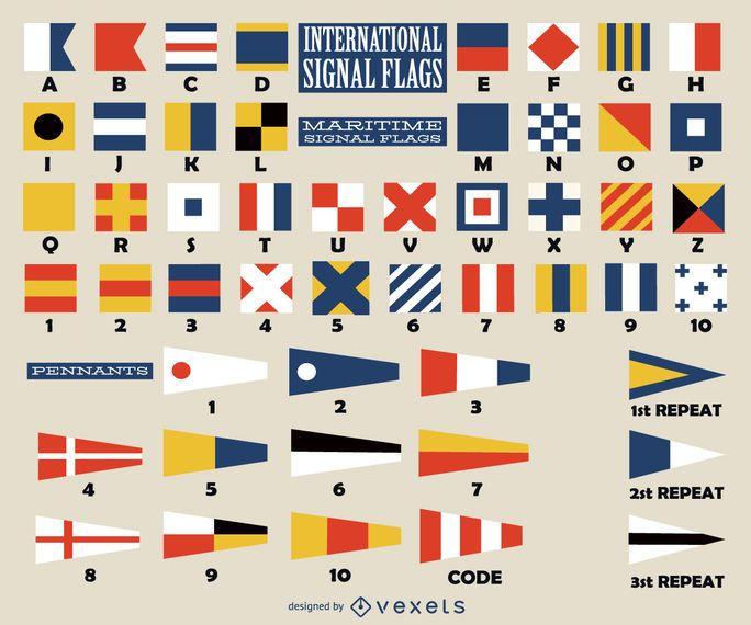 Colección de banderas de señales internacionales