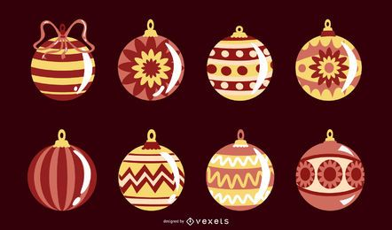 Colección de vectores de adornos navideños