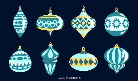 Conjunto de vectores de adornos navideños