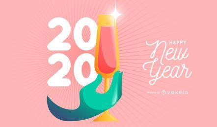 Feliz año nuevo 2020 diseño vectorial