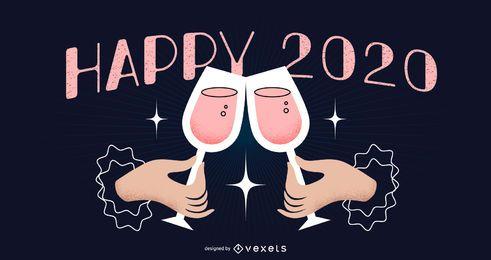 Feliz año nuevo 2020 diseño de banner