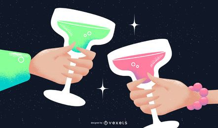 New Year Toast Vector Illustration