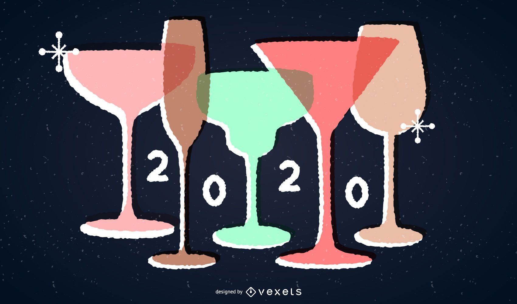 Ilustración de vasos de beber vintage de año nuevo 2020