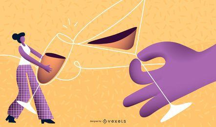 New Year Drinking Glass Vector Illustration