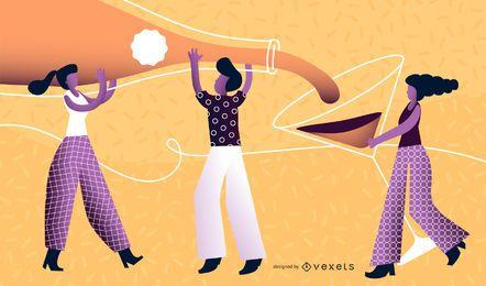 Neues Jahr-Leute-Illustrations-Vektor