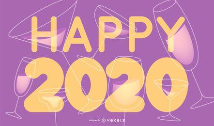 Feliz año nuevo 2020 Letras Banner