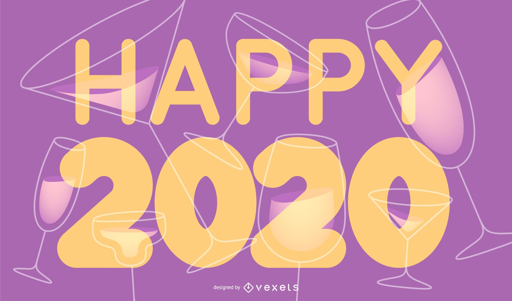 Happy 2020 New Year Lettering Banner