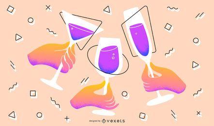 Ilustración artística de brindis de año nuevo
