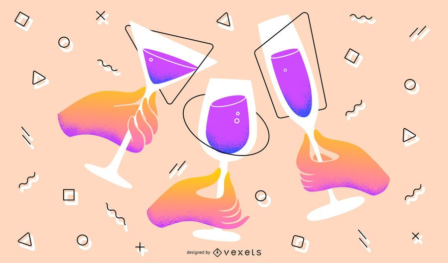 New Year Toast Artistic Illustration