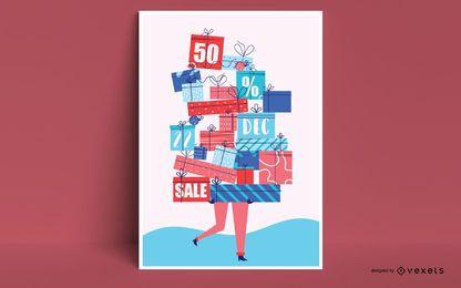Diseño de póster de descuento navideño