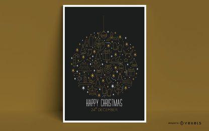Design de cartaz de enfeites de natal feliz