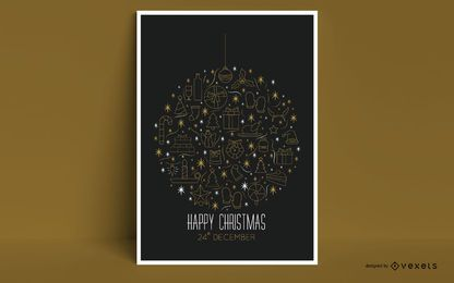Happy Christmas Ornament Poster Design