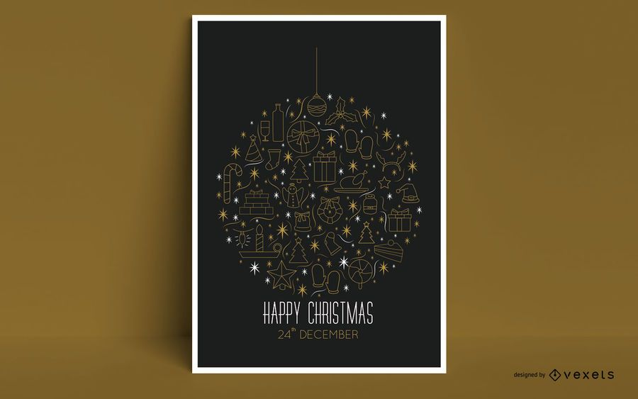 Frohe Weihnachten Ornament Poster Design
