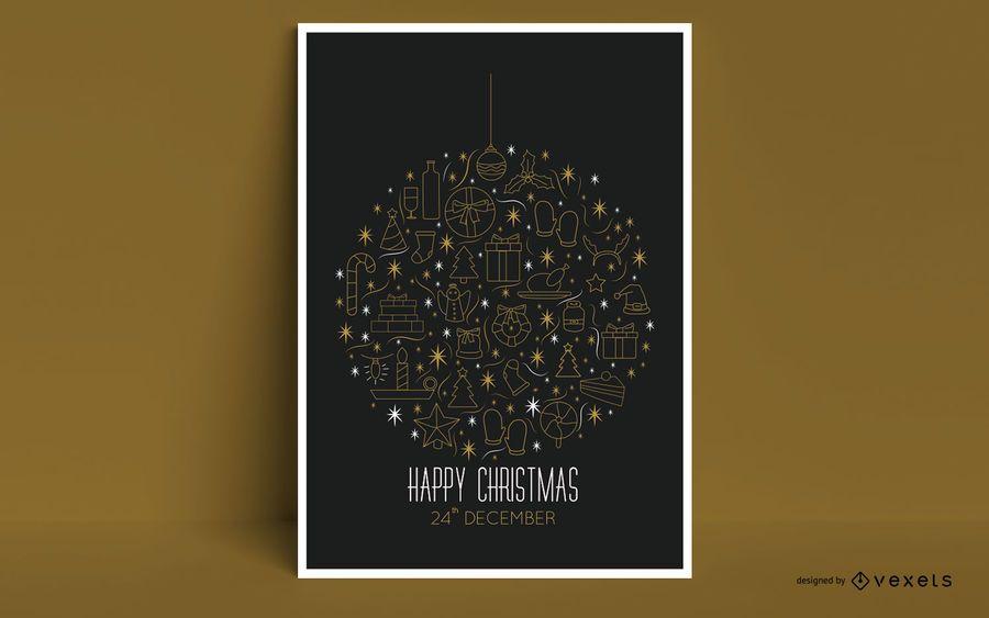 Happy Christmas Ornament Poster Design