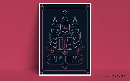 Felices fiestas diseño de carteles de Navidad