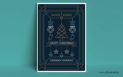 Cartel de estilo de trazo de feliz Navidad