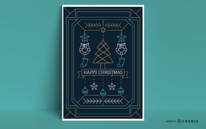 Happy Christmas Stroke Style Poster