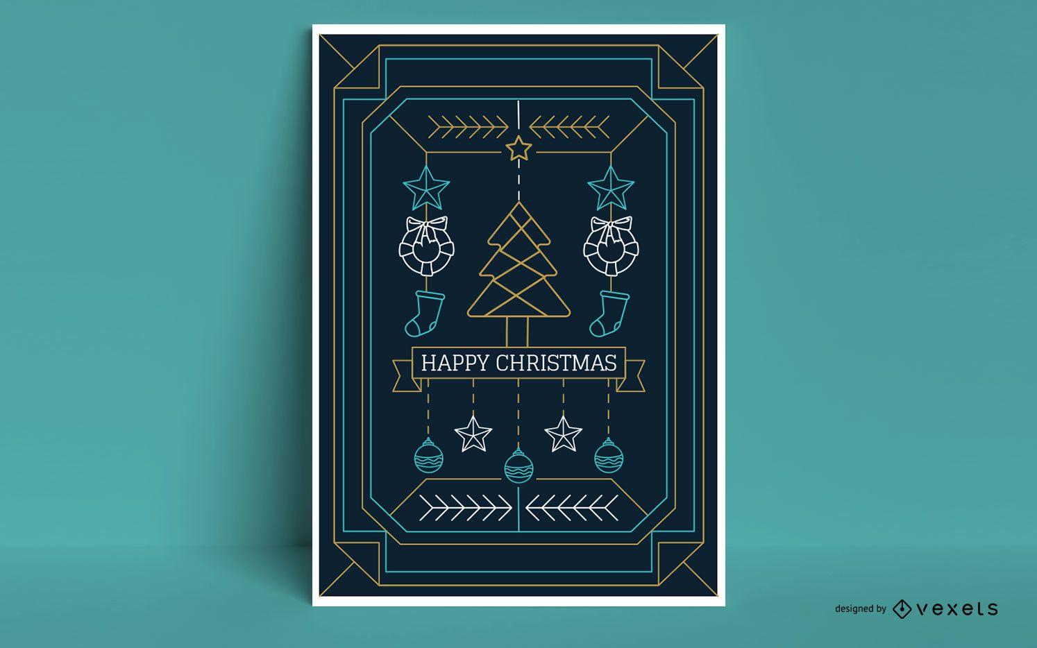 Diseño de cartel de feliz navidad